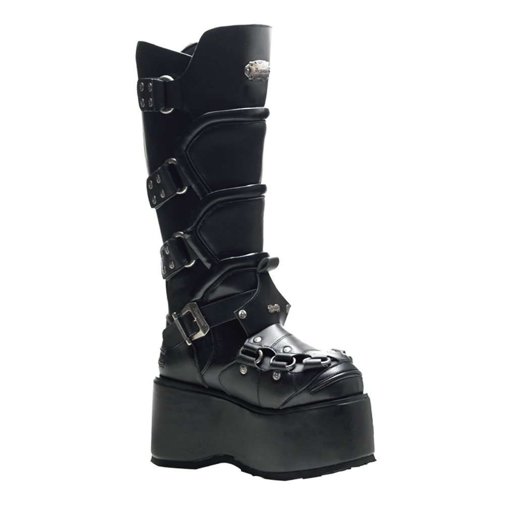 3 1/2 Inch MENS BOOTS Knee High Combat Boots Wedge Platform Buckles Size: 8
