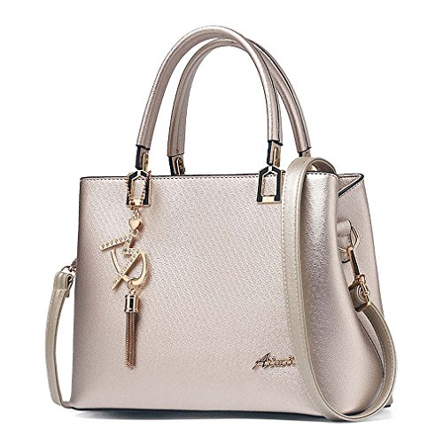 Womens Purses and Handbags Shoulder Bags Ladies Designer Top Handle Satchel Tote Bag (Gold)