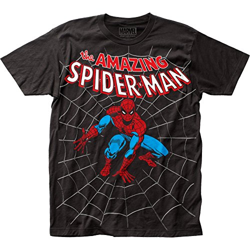 Impact Men's Marvel Comics Spider-man Amazing Spiderman Big Print Subway T-shirt-large, Black