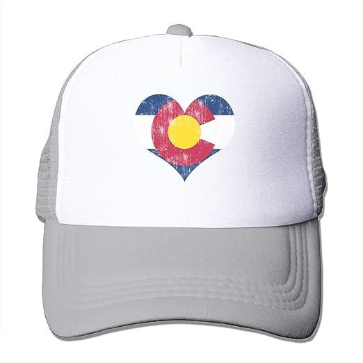 4be1cd17006b5 Trucker Mesh Hat Baseball Caps Colorado Love Heart Adjustable Sport Hats