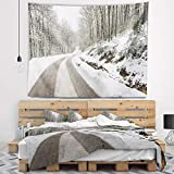 Designart TAP14646-80-68 'Snow Storm at Piornedo Spain' Landscape Tapestry Blanket Décor Wall Art for Home and Office, x Large: 80 in. x 68 in, Created on Lightweight Polyester Fabric