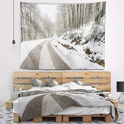 Designart TAP14646-39-32 'Snow Storm at Piornedo Spain' Landscape Tapestry Blanket Décor Wall Art for Home and Office, Medium: 39 in. x 32 in, Created on Lightweight Polyester Fabric by Designart