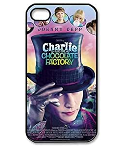 Charlie and the Chocolate Factory Willy Customize Unique Rubber Silicone iPhone 4S Case Back Cover for iPhone 4S 4g -black