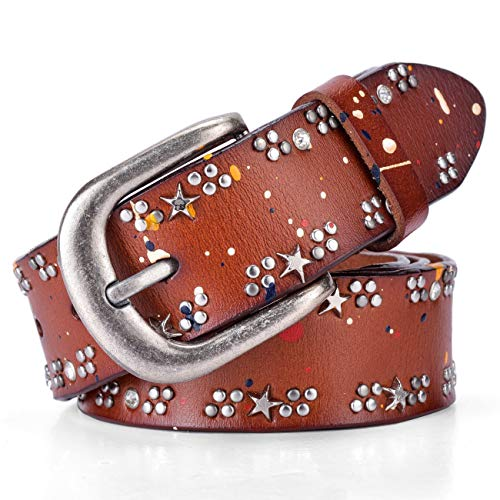 Ayli Women's Metal Buckle Star and Round Rivet Abstract Paint Punk Rock Genuine Leather Jean Belt, Free Gift Box, Brown, Fits Waist 34