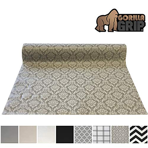 Gorilla Grip Original Smooth Top Slip-Resistant Drawer and Shelf Liner, Non Adhesive Roll, 12 Inch x 20 FT, Durable Kitchen Cabinet Shelves Liners for Kitchens Drawers and Desks, Damask Beige
