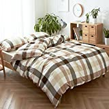 HIGHBUY Geometric Grid Print Bedding Set Full Washed Cotton 3 Piece Duvet Cover Set with Zipper Closure Coffee Khaki Plaid Pattern Comforter Cover Queen with 2 Pillowcase