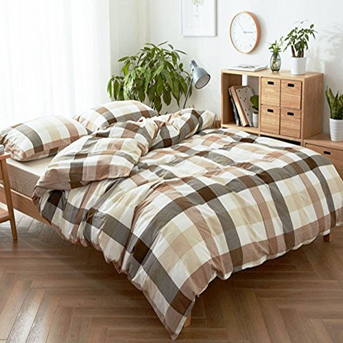 HIGHBUY Geometric Grid Print Bedding Set Full Washed Cotton