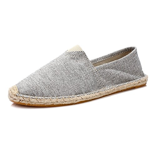 Unisex Breathable Canvas Shoes Slip-on Espadrilles Loafers Flats Shoes for Women Men (US Size 5-12) A-gray New