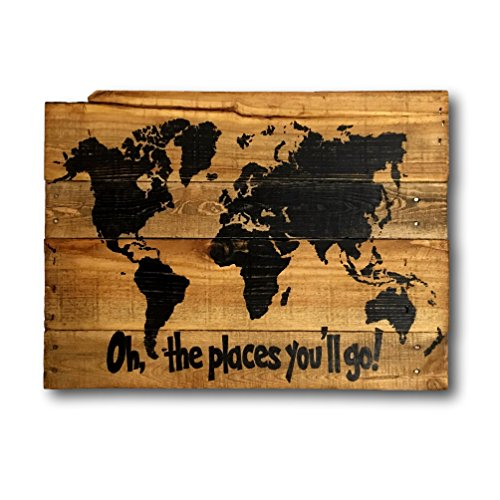 Oh, The Places You'll Go Wood Map Wall Art / Dr. Seuss Sign / Nursery Decor (Dr Seuss Signs)