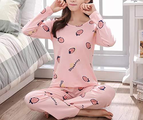 Stampa Servizio Set Donna Carino Lunghe C Pigiama Animato Da Piccolo Vestito Pajamas Condizionata Fresco Pantaloni Aria A Cartone Casa A Di Maniche 4qOxPwd