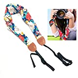 Camera Scarf Strap,Genjia Women Comfortable Retro Vintage Floral Scarf Fabric Camera Shoulder Neck Strap with Strong Leather+Nylon Adjustable Ends for DSLR Camera,Canon,Nikon,Sony (Floral 01)