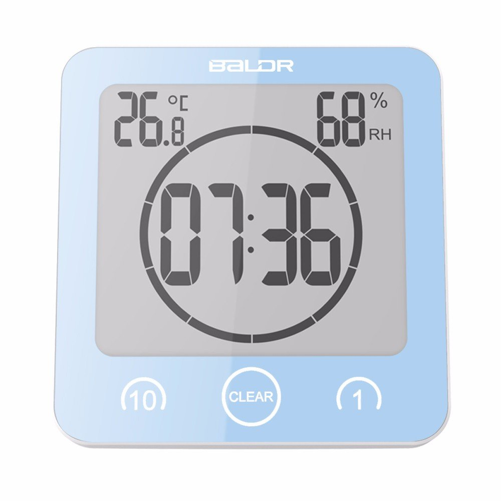 Bathroom Clock LCD Waterproof Timer Shower Clock Large Font Display the Time, Temperature and Humidity and Touch Button to Set the Timer,Blue
