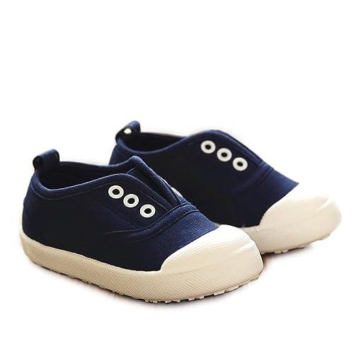 0edb40ac O&N Fashion Candy Color Kids Toddler Canvas Shoes Boy Girl Slip-On Sneaker  Dark Blue