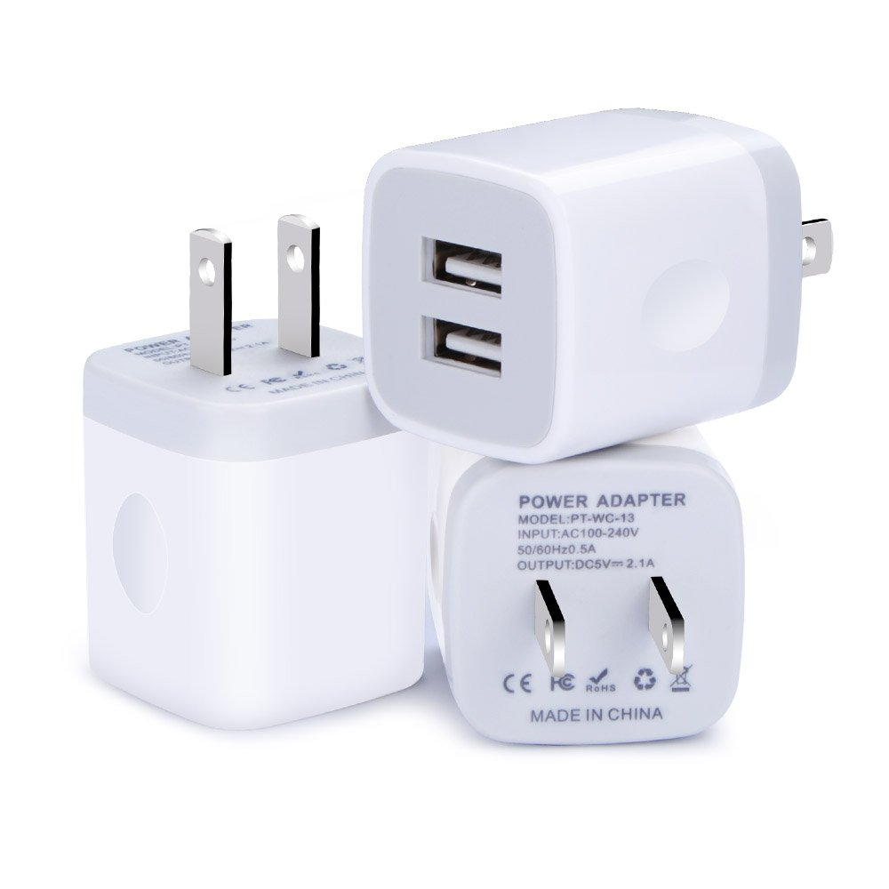 finest selection 8f82d 1e15c Wall Charger Plug Power Adapter Charger Block Cube,Kakaly 3-Pack Quick  Charger USB Brick Dual Port Plug Compatible for iPhone 8/X/7/6/6S  Plus,Samsung ...