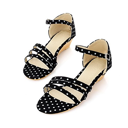 Toe Black Soft Open Low Material Wedge Womens VogueZone009 Heel Sandals PU Solid PnEqZnwH