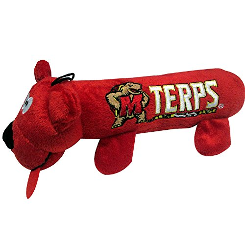 NCAA Maryland Terrapins Tube Toy for Dogs & Cats. Soft Plush Fun Pet Toy with Two Inner SQUEAKERS.
