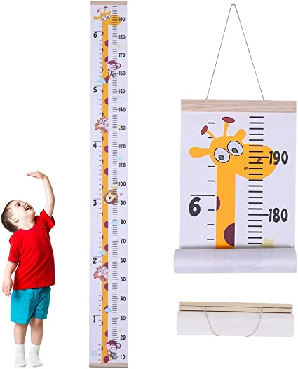 Decorations Nursery Baby Kids Room Decor for Girls Wall Decals for Kids Rooms Growth Height Tape Measure Stickers Baby Measurement Scale Family Toddler Jungle Wooden Hanging Ruller