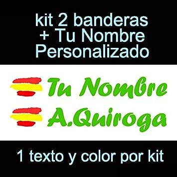 Vinilin Pegatina Vinilo Bandera España + tu Nombre - Bici, Casco, Pala De Padel, Monopatin, Coche, Moto, etc. Kit de Dos Vinilos (Verde): Amazon.es: Deportes y aire libre