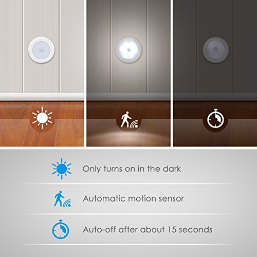 AMIR (Upgraded Version) Motion Sensor Lights, Battery-Powered LED Night Lights, Stick-Anywhere Closet Lights Stair Lights, Wall Lights for Hallway, Bathroom, Bedroom, Kitchen etc. (White - Pack of 3)