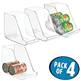 mDesign Canned Food Storage and Soda Organizer for Kitchen Pantry or Cabinet - Pack of 4, Clear