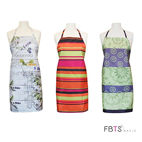 Aprons (Set of 3) Adjustable Height with Two Big Front Pocket Water Resistant For Women And Men Durable by FBTS Basic (Waist Stand High)