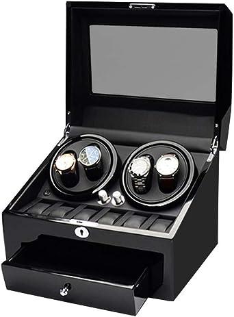 WCX Vitrina Movimiento Relojes Watch Winder 4+6 Enrollador de Reloj Automático Caja de Almacenamiento de Madera (Color : Negro-26x34x25.5cm): Amazon.es: Relojes