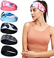 SOMIER Sport Headbands for Men and Women, 8 Packs Stretch Breathable Moisture Wicking Workout Sweatbands for R