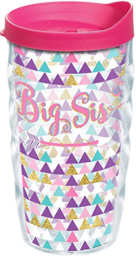 Tervis 1248219 Big Sis Tumbler with Wrap and Fuchsia Lid 10oz Wavy, Clear