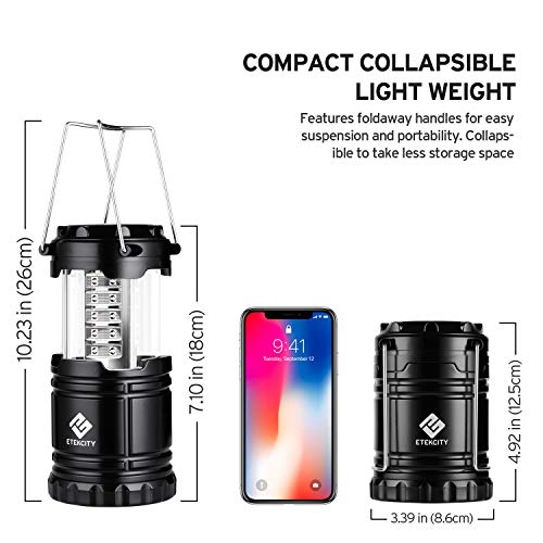 Etekcity 4 Pack Portable LED Camping Lantern with 12 AA Batteries – Survival Kit for Emergency, Hurricane, Power Outage (Black, Collapsible) (CL10)