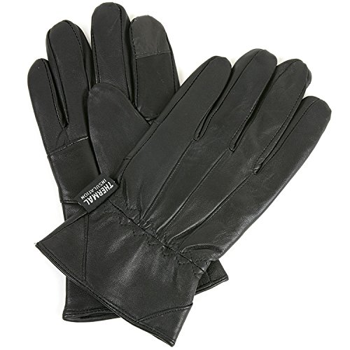 Alpine Swiss Mens Touch Screen Gloves Leather Thermal Lined Phone Texting Gloves BLK M