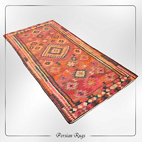 Orange & Brown Hand Knotted Wool Tribal Vintage Classic Kilim Area Rug, Geometric Antique Traditional Living Room Distressed Rug, Kilim Turkish Home Oriental Décor rug, 5'5