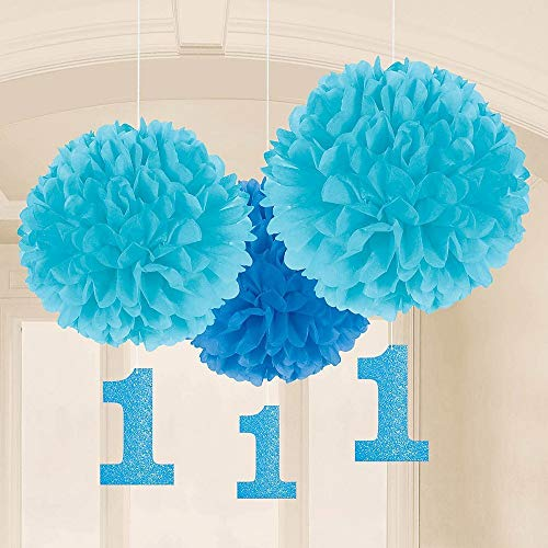 (Amscan Party Supplies 1st Birthday Fluffy Decorations w/ Dangler, Blue, Assorted Sizes, 3)