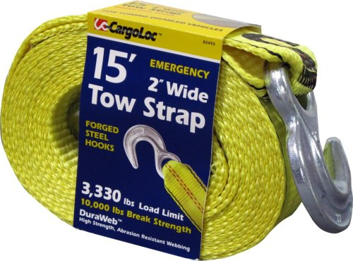 CargoLoc 85493 2-Inch by 15-Feet Emergency Tow Strap with Hooks