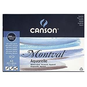 Canson Montval - Bloc papel de acuarela, A3-29.7 x 42 cm, color blanco natural