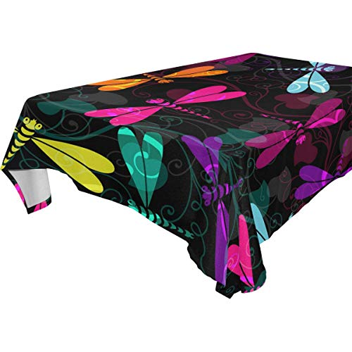 WOZO Rectangular Colorful Dragonfly Damask Floral Tablecloth Table Cloth Cover for Home Decor Dinner Kitchen Party Picnic Wedding Halloween Christmas 54x72 inch ()