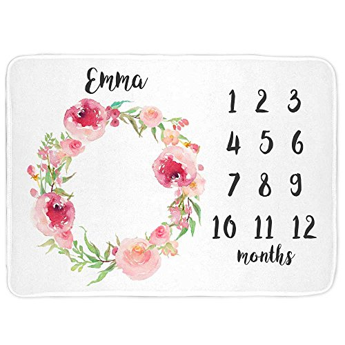 Lovable gift co buy lovable gift co products online in uae monthly milestone baby blanket personalized girls floral print negle Choice Image
