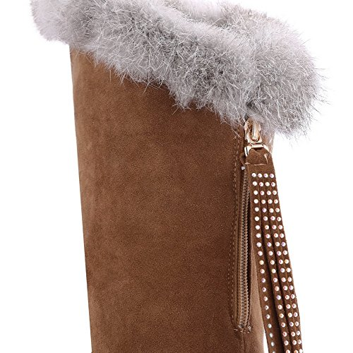 Allhqfashion Women's Pull-on Round Closed Toe High-Heels Imitated Suede High-top Boots Brown KhuA1ST21A