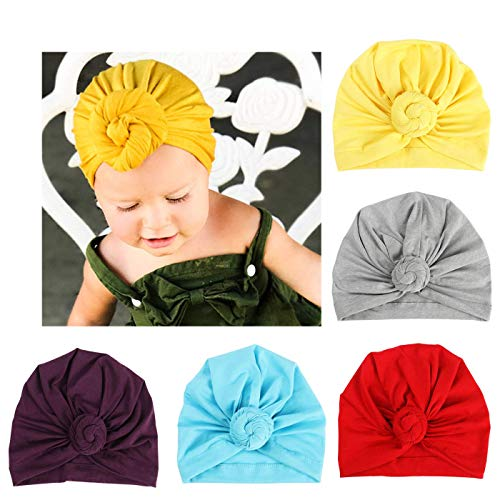 BQUBO 5 Pieces Cute Turban Hats for Baby Girls Vintage Soft Bun Knot Infant Toddler Baby Cap (5 Pack Knot B, 12-36 Month)