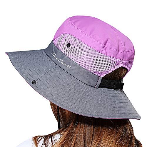 Lvaiz Waterproof Sun Hat Outdoor UV Protection Bucket Mesh Boonie Hat Adjustable Fishing Cap for Women (Purple&Grey, One Size)