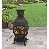 Cast Iron Chiminea, Antique Bronze with Nylon Cover, Poker Included