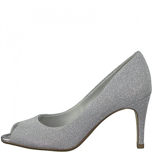 Tamaris Peeptoe Pumps 1-29302-20 Stiletto High Heel Silber