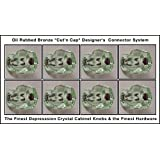 8 Pack of 1920's Finest Hexagonal Depression Glass Cabinet Knobs, Oil Rubbed Bronze Cut'n Cap Installation System Medium size 1-1/4 X 1-1/4 inch at the widest point (COKE GREEN)