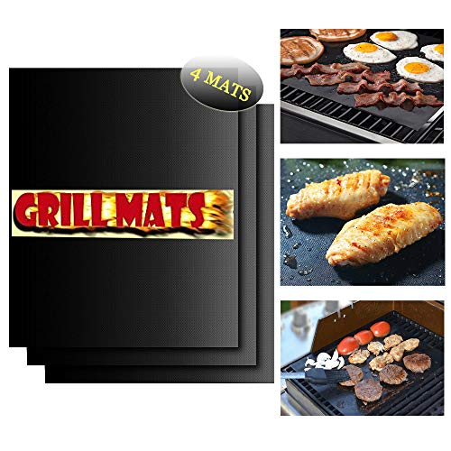 UMOGI Thicken BBQ Grill & Baking Mats Set of 4, Durable Reusable Hundreds of Times Easy to Clean, Non-Stick Grilling Accessories,Heat Resistant,FDA-Approved, Works on Gas Charcoal Electric Grill&More (Best Way To Clean Copper Pans)
