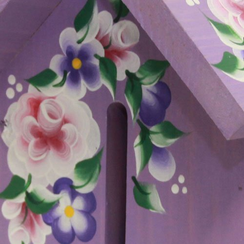 Butterfly House: Purple with Hand Painted Roses