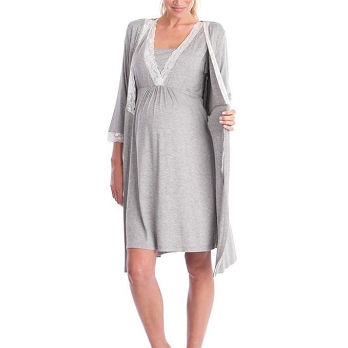 Meedot Mujeres embarazadas Maternidad Enfermería Vestido de lactancia Vestido de noche Vestido de maternidad de mujer Gris claro 2 L: Amazon.es: Ropa y ...