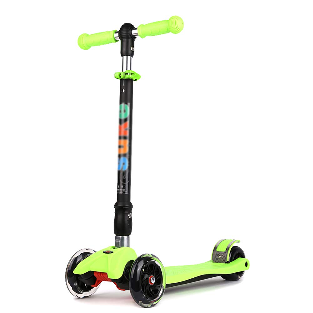 YXX- スクーター キック、調節可能な高さ、滑り止めペダル、折りたたみ式デザイン、収納が簡単な子供用フラッシュスクーター (色 : Green, サイズ さいず : 4 Wheels) B07MPWQQXJ  Green 4 Wheels