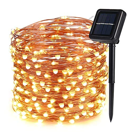 (Icicle Solar Fairy String Lights, 66ft 200 LED Flexible Copper Wire Starry String Lights for Garden, Pergola, Backyard, Bush, Porch, Bedroom, Wedding, Indoor&Outdoor Decorations (Warm White) )