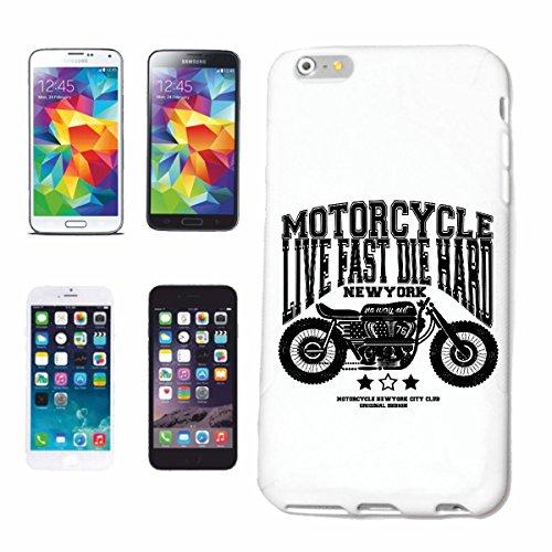 "cas de téléphone iPhone 6S ""VIE FAST DIE DUR NEW YORK Motard SHIRT MOTO CHOPPER MOTO GOTHIQUE SKULL MOTO CLUB BIKE ROUTE 66"" Hard Case Cover Téléphone Covers Smart Cover pour Apple iPhone en blanc"