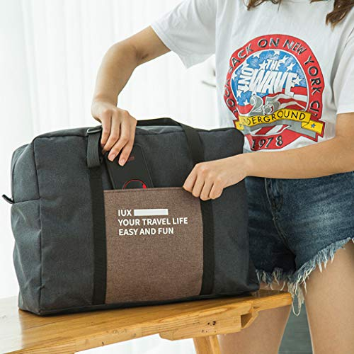 Gotian Travel Bag Cotton Canvas Travel Equipment Flight Carry Shoulder Bag, Maximum Storage, Keep Your Passport, Keys, Phone, Headphones, Wallet, Currency (black)