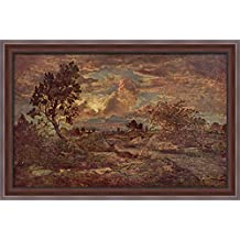 Sunset at Arbonne 40x28 Large Walnut Ornate Wood Framed Canvas Art by Theodore Rousseau